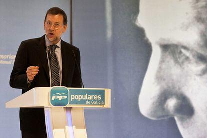 El presidente Mariano Rajoy, ayer en Santiago en un homenaje a Manuel Fraga.