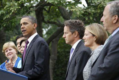 Barack Obama, durante su comparecencia ayer en la Casa Blanca para valorar el dato del paro en agosto.