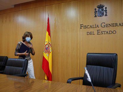 Dolores Delgado, el pasado 24 de julio en la sede de la Fiscalía General.