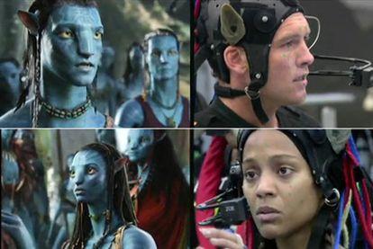 Sam Worthington (arriba) y Zoe Saldana, con los trajes que graban sus movimientos y los convierten en imagen digital (a su izquierda) en <i>Avatar.</i>
