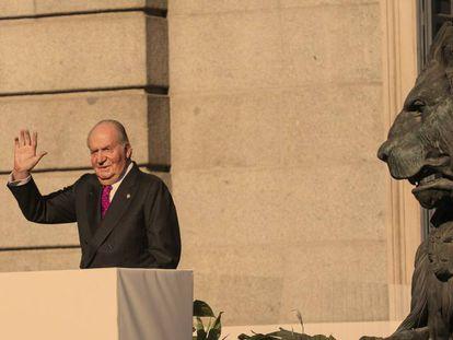 Juan Carlos I, durante los actos de conmemoración del 40 aniversario de la Constitución en el Congreso de los Diputados.