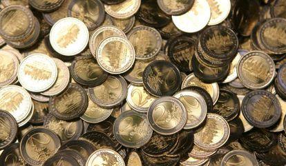 En la imagen, monedas de dos euros.