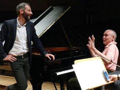 Slobodeniouk y Pogorelich en la prueba de sonido del concerto de ayer en el Auditorio Nacional de Madrid.