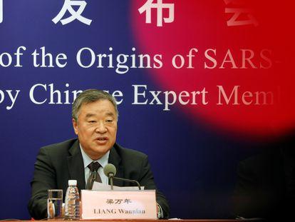 Liang Wannian, el jefe del equipo chino en la misión de la OMS sobre el origen del coronavirus, en una rueda de prensa este miércoles en Pekín.