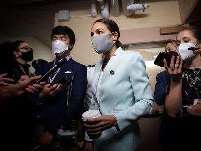 La demócrata Alexandria Ocasio-Cortez, representante de la facción progresista, este viernes en el Capitolio.