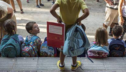 Primer día de clase en una escuela de Barcelona.