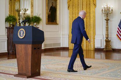 Joe Biden, este jueves en la Casa Blanca tras pronunciar su discurso económico.