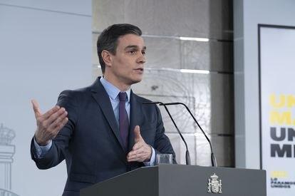 El presidente del Gobierno, Pedro Sánchez, en la comparecencia del sábado 4 de abril.