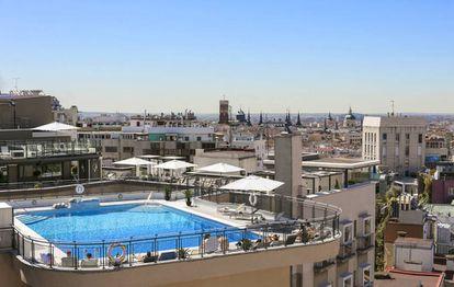 Vista de Madrid desde una azotea en la Gran Vía