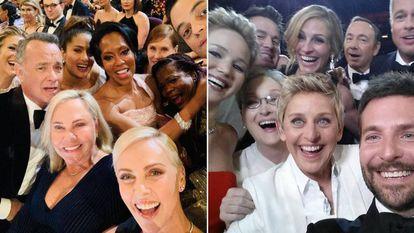 Los selfis de Charlize Theron en los Oscar de 2020 y de Ellen DeGeneres en los de 2014.