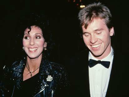 Cher y Val Kilmer, durante la fiesta posterior a los premios Tony, en 1982.