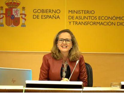 Nadia Calviño, vicepresidenta tercera del Gobierno, este viernes.