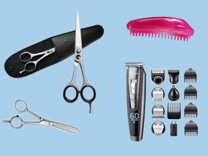Unas tijeras profesionales, un buen cepillo o una recortadora pueden ser de gran ayuda a la hora de cortarse el pelo en casa.