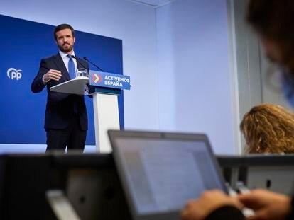 El presidente del PP, Pablo Casado, durante su comparecencia de este martes para hacer balance del año 2020.