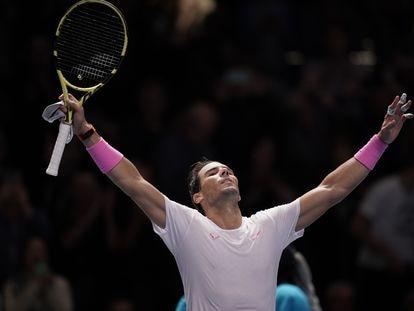 Rafa Nadal celebra una victoria en la ATP Finals de 2019.