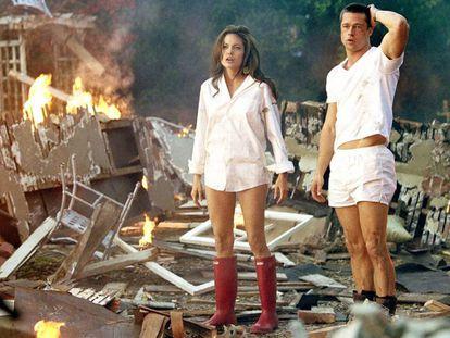 Angelina Jolie y Brad Pitt en 'Mr. & Mrs. Smith', la película durante cuyo rodaje se enamoraron.