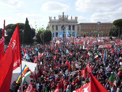 La manifestación celebrada el sábado en la plaza San Giovanni de Roma.