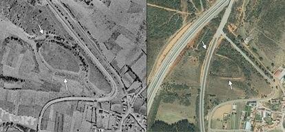 Castro de Pradorrey, antes y después de su destrucción por la carretera Nacional VI y una gravera que lo vació completamente.