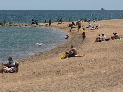 La playa de la Barceloneta, este sábado.