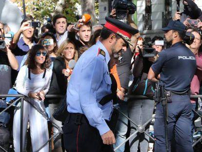 El jefe de los Mossos d'Esquadra, Josep Lluís Trapero, a su salida de la Audiencia Nacional