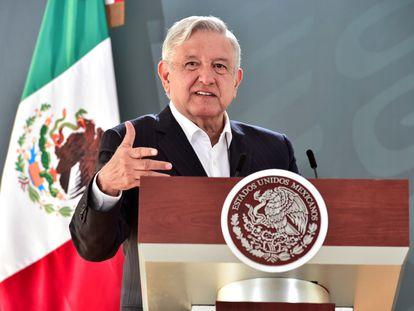 López Obrador, durante la conferencia de este lunes en Veracruz.