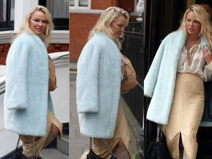 Pamela Anderson llegando a la embajada de Ecuador en Londres, donde reside su amigo Julian Assange. Fue en diciembre de 2017.