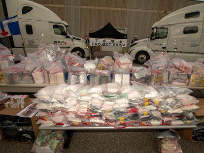 Cargamento de droga incautado por la policía canadiense en Toronto, tras la desarticulación de una red de narcotráfico entre México y Canadá el 22 de junio de 2021.