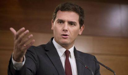 Albert Rivera, presidente de Ciudadanos, este lunes en Madrid.