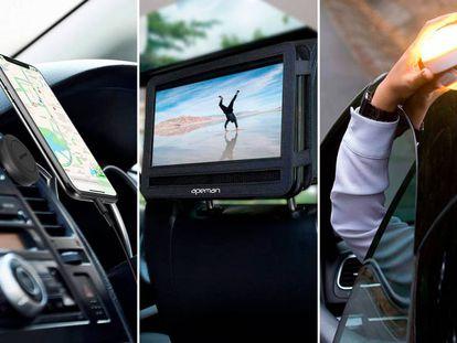 Los soportes para el móvil, las fundas y las luces de emergencia son algunos de los accesorios de coche más útiles para viajar en verano.