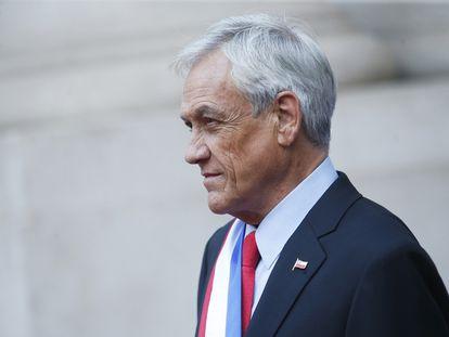 El presidente Sebastián Piñera, durante una comparecencia.