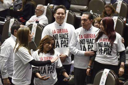 Legisladores opositores hoy en la Cámara de Diputados.