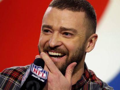 Justin Timberlake en la rueda de prensa previa a la Super Bowl 2018 en Minneapolis (Estados Unidos)