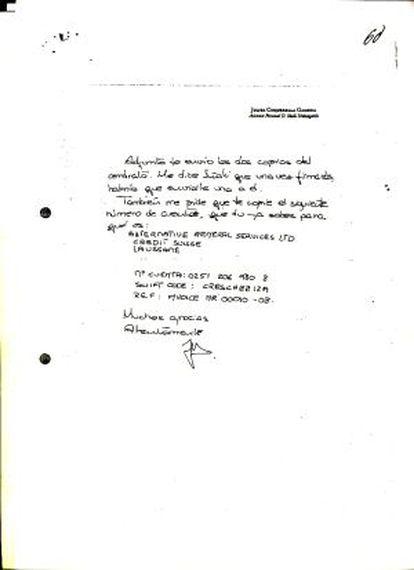 Nota manuscrita del secretario de Iñaki Urdangarin.