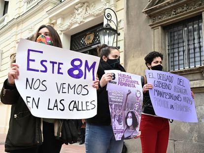 Rueda de prensa del Sindicato de Estudiantes Libres y Combativas, el jueves, para responder ante la decisión del delegado del Gobierno en Madrid de prohibir las concentraciones feministas del 8M.