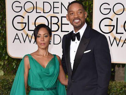 El matrimonio de actores Jada Pinkett y Will Smith en los Globos de Oro de 2016.