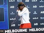 United States' Serena Williams leaves a press conference following her semifinal loss to Japan's Naomi Osaka at the Australian Open tennis championship in Melbourne, Australia, Thursday, Feb. 18, 2021.(Rob Prezioso/Tennis Australia via AP)