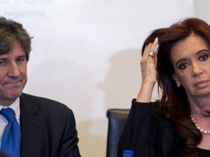Amado Boudou, junto a la presidenta, Cristina Fernández.