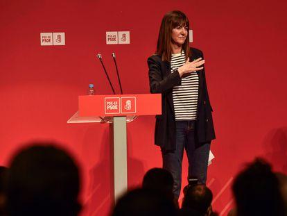 La secretaria general del PSE-EE, Idoia Mendia, tras intervenir en el comité nacional del partido celebrado este martes en Bilbao.