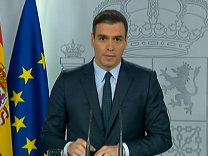 Rueda de prensa de Pedro Sánchez, el pasado domingo en La Moncloa.