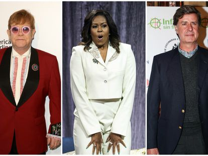 Elton John, Michelle Obama y Cayetano Martínez de Irujo.
