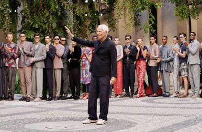 Giorgio Armani el pasado 17 de junio en Milán durante la presentación de su última colección para la primavera-verano de 2020.