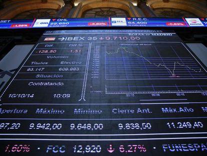 Panel informativo en la Bolsa de Madrid
