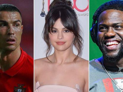 Cristiano Ronaldo, Selena Gomez y Kevin Hart.