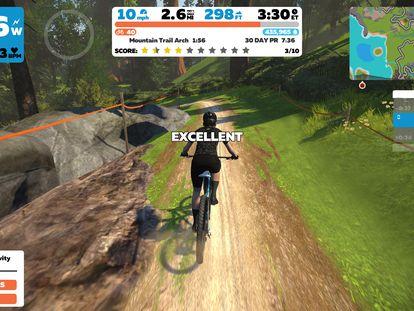 Avatar y registros de un ciclista recorriendo uno de los circuitos virtuales de Zwift