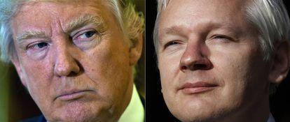 El presidente electo de EE UU, Donald Trump, y el fundador de Wikileaks, Julian Assange.
