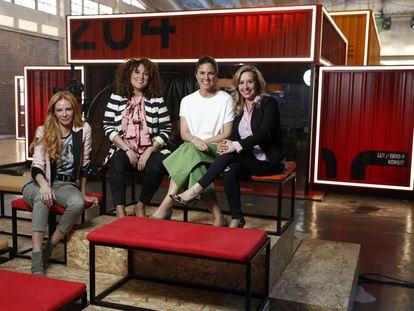 Paula Vázquez, María Zambrano, María José Rodríguez y Marta Moure en el plató de 'Fama'.