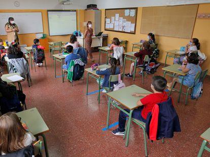 El primer día de clase, el pasado septiembre, en un colegio de Oviedo.