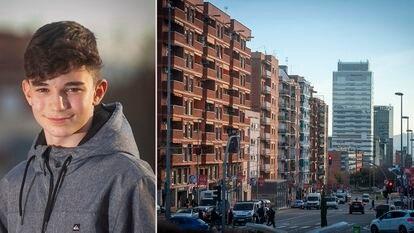 Roger, de 14 años, y una imagen de la zona en la que vive en Sabadell.