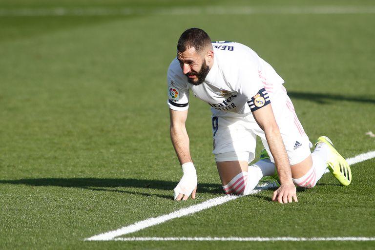 Benzema, el pasado domingo contra el Valencia en Valdebebas.