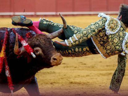 El Juli es volteado por su segundo toro en la Maestranza de Sevilla.